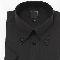 半袖ボタンダウン ブラック ワイシャツ ボタンダウン 半袖ワイシャツ メンズ 半袖 Yシャツ ビジネス [ドレスシャツ]