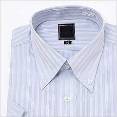 半袖ボタンダウン ブルージャガードストライプ ワイシャツ ボタンダウン 半袖ワイシャツ メンズ 半袖 Yシャツ ビジネス