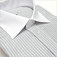 ワイドカラー ライトグレーストライプ ワイシャツ ワイドカラー 長袖ワイシャツ メンズ ビジネス 形態安定