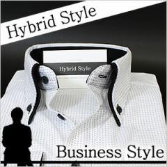 ボタンダウン 長袖ワイシャツ メンズ Yシャツ ビジネス クールビズ 白 黒 [ドレスシャツ][オーダーシャツ][白シャツ]