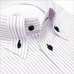 ボタンダウン 長袖ワイシャツ ビジネス フォーマル メンズ Yシャツ[ワイドカラー][クレリック][ドレスシャツ]