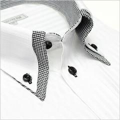 ボタンダウン 長袖ワイシャツ メンズ Yシャツ ビジネス クールビズ 白 黒 シャツ[ドレスシャツ][白シャツ