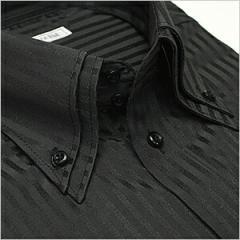 ボタンダウン 長袖ワイシャツ メンズ Yシャツ ビジネス クールビズ 白 黒 シャツ[ドレスシャツ][白シャツ]