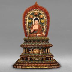 【分割払い可】【送料無料】 阿弥陀如来像 職人による手作りの精巧な木像 工芸美術品 仏像 阿弥陀如来 坐像 高さ140cm 大型