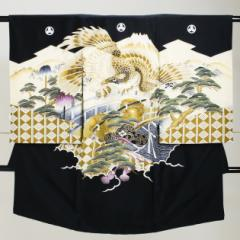 【お宮参り 男の子】黒/鷹・松 a-27【日本製高級正絹】〔産着 レンタル〕〔着物〕【往復送料無料】