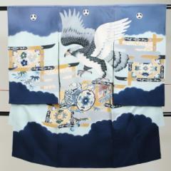 【お宮参り 男の子】ブルー グレー/鷹・つづみ a-31【日本製高級正絹】〔産着 レンタル〕〔着物〕【往復送料無料】