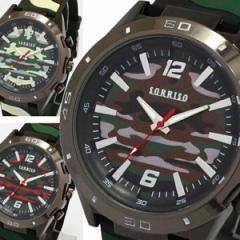 送料無料 ポイント10倍 (定形外郵便配送可能/3個まで) メンズ腕時計 カモフラージュ柄 カモフラ柄 迷彩柄 ラバーベルト 腕時計