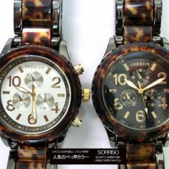 ポイント10倍 メンズ腕時計 ニクソン好きさんに必見 べっ甲 メタルコンビ 腕時計 クロノグラフ (2色/ホワイト ブラック) 送料無料