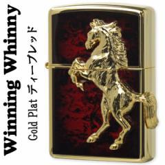 【送料無料】ZIPPO(ジッポー)ライター 馬ウィンニングウィニーゴールドプレート ディープレッド