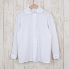 キッズサイズ!フリル襟長袖 ホワイトシャツ ブラウス/wea2390