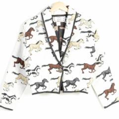 アニマル柄 馬柄 総柄 ショート丈 ショールカラー コットンテーラードジャケット レディースM CRAZY COWGIRL /wez5269
