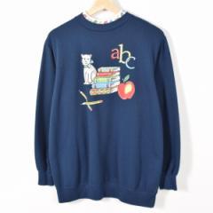 猫 Apple Pen レイヤードネック アニマルプリントスウェットシャツ トレーナー レディースL Blair 【170226】 /wab5445