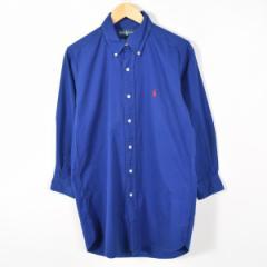 JAMリメイク ラルフローレン ボタンダウン 長袖 リサイズ ロングシャツ メンズS レディースL Ralph Lauren /wab4890