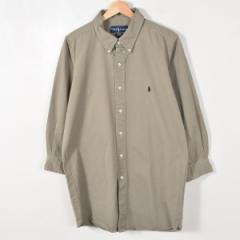 JAMリメイク ラルフローレン ボタンダウン 長袖 リサイズ ロングシャツ メンズS レディースL Ralph Lauren /wab4904