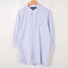 JAMリメイク ラルフローレン ストライプ柄 ボタンダウン 長袖 リサイズ ロングシャツ メンズS レディースL Ralph Lauren /wab4910