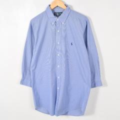 JAMリメイク ラルフローレン ボタンダウン 長袖 リサイズ ロングシャツ メンズS レディースL Ralph Lauren /wab4914