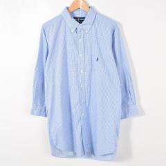 JAMリメイク ラルフローレン チェック柄 ボタンダウン 長袖 リサイズ ロングシャツ メンズS レディースL Ralph Lauren /wab4924