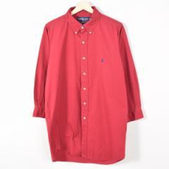 JAMリメイク ラルフローレン ボタンダウン 長袖 リサイズ ロングシャツ メンズS レディースL Ralph Lauren /wab4970