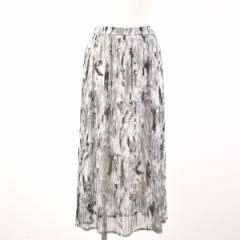 BLANCHE 総柄 シースルー ロング アコーディオンプリーツスカート レディースM〜XL 【170617】 /wah4565