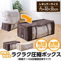 布団圧縮袋 ボックスタイプ レギュラーサイズ(幅75×奥40×高30cm)バルブ式 ふとん圧縮袋 衣類圧縮袋 圧縮収納ケース 収納袋