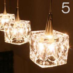 【送料無料・即納】ガラスキューブハロゲンペンダントライト Cube 5灯 CC-40826 キシマ kishima
