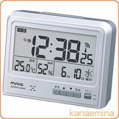 電波時計 置き時計 エアサーチガイル シルバー(温湿度計/カレンダー/目覚まし時計/アラームクロック)
