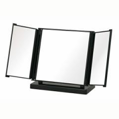 コンパクトミラー カジュアル 三面鏡 ブラック(メイクミラー/化粧/卓上ミラー)