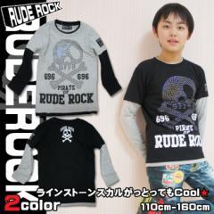 【店内全品送料無料】RUDE ROCK 696 ラインストーンスカル レイヤード風 Tシャツ