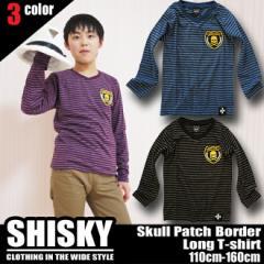 【店内全品送料無料】SHISKY スカルワッペン付き ボーダー Vネック Tシャツ