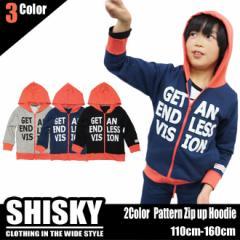 【店内全品送料無料】SHISKY ピンク切り替え ジップアップ パーカー