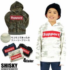 【店内全品送料無料】SHISKY Supportロゴファーリー フリース パーカー