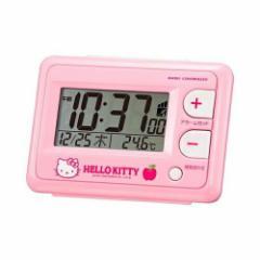 リズム時計工業 ハローキティ 電波目覚し デジタル 時計 ピンク 8RZ095RH13
