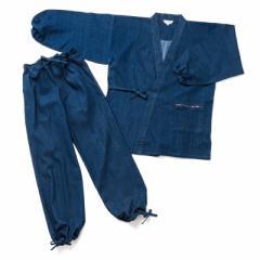 地厚 の 作務衣 袖ゴム 杢糸ストレッチ デニム 生地は、使い込むほどに味わいが深くなる10オンスの さむえ 冬用