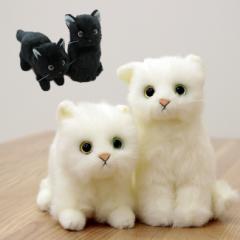 即納 日本製リアル 猫のぬいぐるみ 子猫26cm(可愛い/ねこ/かわいい表情/毛並み/本物そっくり)【無料ラッピング対応可】