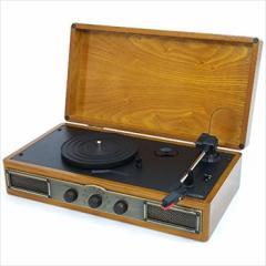 天然木アンティーク調レコードプレーヤー&AM/FMラジオ クマザキエイム AT-2520