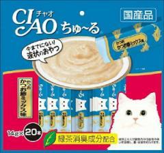いなば チャオ ちゅーる(ちゅ〜る)かつお かつお節ミックス味 14g×20本【キャットフード/猫用おやつ/猫 おやつ オヤツ/ねこ おやつ】
