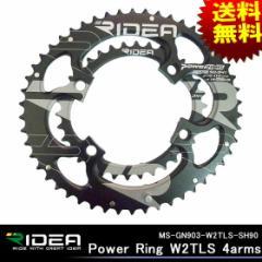 【送料無料】Ming Suey Precision MS-GN903-W2TLS-SH90Power Ring W2TLS 4arms ブラック(53-39T) RIDEA 自転車ギア 歯車 BCD 110mm
