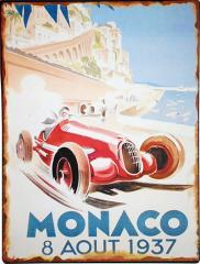 【 インテリア雑貨 】 1937 モナコグランプリ ALFA ROMEO 8C ブリキプレート