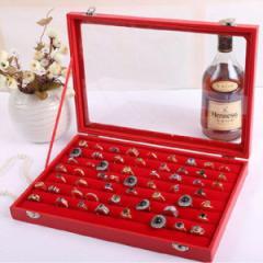 ガラスディスプレイケース(リング・指輪用):レッド ジュエリーボックス 赤色 ベルベット 収納 ピアス 指輪 イヤリング ネックレス ペン