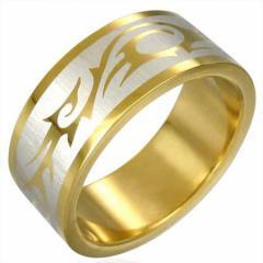 ゴールデントライバルリング(ERG004)サイズ/16号/19号/26号 ゴールド 金色 重厚 ステンレスリング 指輪 サージカルステンレス316L 低ア