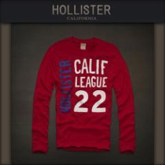 ホリスター HOLLISTER 正規品 メンズ 長袖Tシャツ レッド