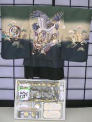 七五三レンタル★七歳男の子袴セット★抹茶地に鷹と兜柄noR