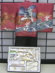 七五三レンタル★七歳男の子袴セット★レンガ地に鷹柄noU