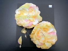 ●○頭飾り○●黄色地にバラの花n32