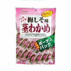 シャキシャキ茎わかめ 梅しそ味 ボーナスパック 126g 徳用袋茎わかめ【壮関】健康志向 食物繊維いっぱい