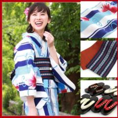 浴衣 セット レディース レトロ高級変わり織り涼感浴衣3点セット「白地に紺と水色の縞と金魚」