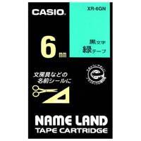 ラベルテープ XR-6GN 緑に黒文字 6mm