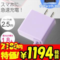 【送料無料】携帯充電器 AC充電器スマホ Android タブレット対応 【バイオレット】 0118SM03LV
