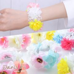 ブレスレット ブレス フラワー 花 造花 レース ゴムタイプ カラー パステル カラフル 送料無料
