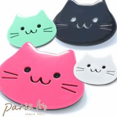 ゆるかわ ニャンコ フェイス ブローチ 缶バッジ 缶バッチ ねこ ネコ 猫 にゃんこ ピンク 黒 ミント ホワイト